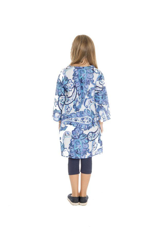 Tunique évasée à manches longues et imprimés fantaisies bleus Zepplin 294989