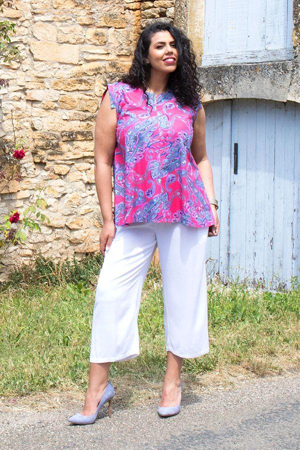 tunique évasée sans manches avec col mao fuchsia Shana 290513