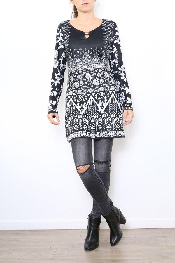 Tunique excentrique noire et blanche originale Naomie 304468