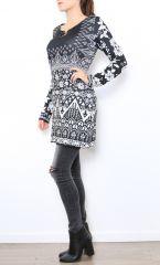 Tunique excentrique noire et blanche originale Naomie 304469