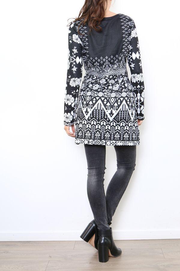 Tunique excentrique noire et blanche originale Naomie