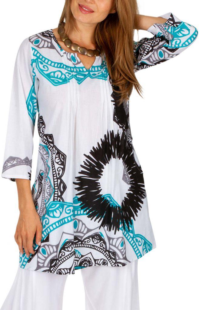 Tunique femme à col mao blanche originale style ethnique Cynthia 306481