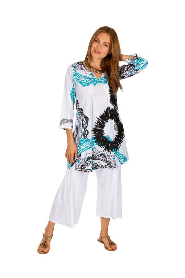 Tunique femme à col mao blanche originale style ethnique Cynthia 306482
