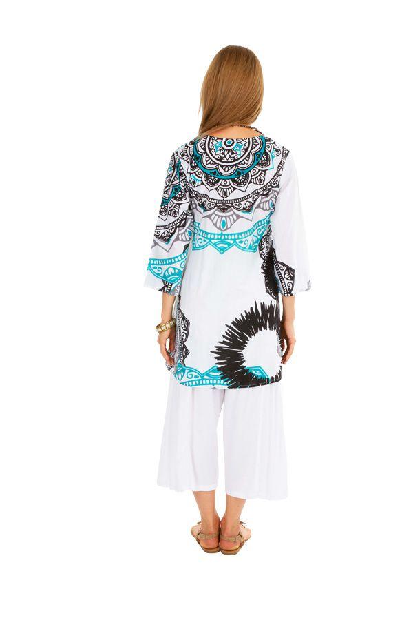Tunique femme à col mao blanche originale style ethnique Cynthia 306483