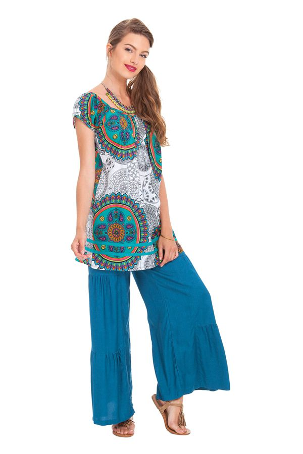 Tunique Femme à manches courtes Ethnique et Imprimée Cristy Blanche 281812