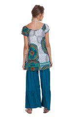Tunique Femme à manches courtes Ethnique et Imprimée Cristy Blanche 281813