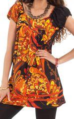 Tunique Femme à manches courtes Noire Ethnique et Imprimée Cristy 281819