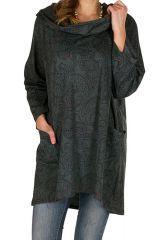 Tunique femme à manches longues Grise imprimée et à capuche Sigrid 299890