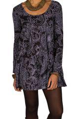Tunique femme à manches longues Noire imprimée et ample avec col rond Marek 299914