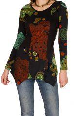 Tunique femme à manches longues Noire originale avec imprimés colorés Octavie 299808