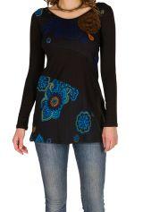 Tunique femme à manches longues Noire originale et  à motifs colorés Noelia 299776