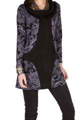 Tunique femme à manches longues Noire originale et imprimée avec un large col Serena 299922