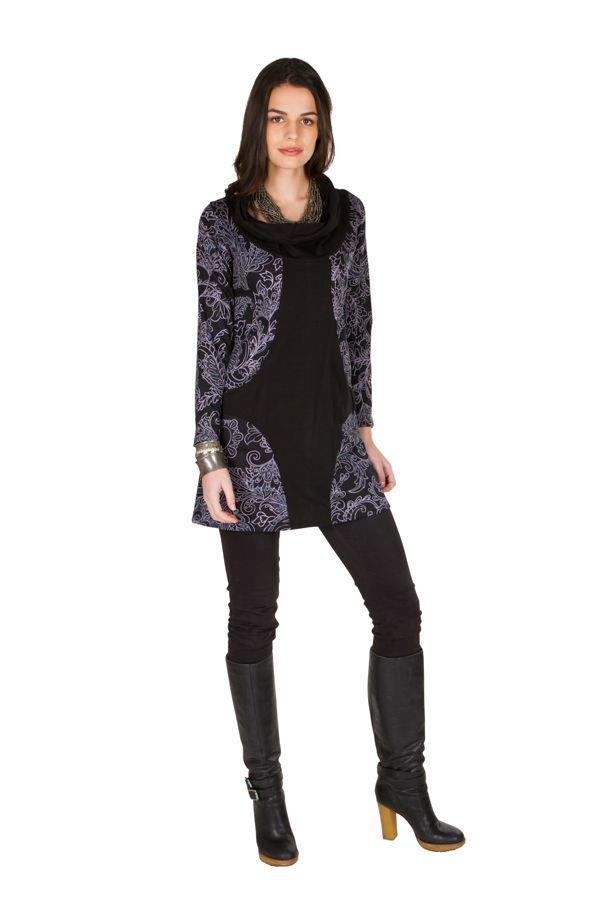Tunique femme à manches longues Noire originale et imprimée avec un large col Serena 299923