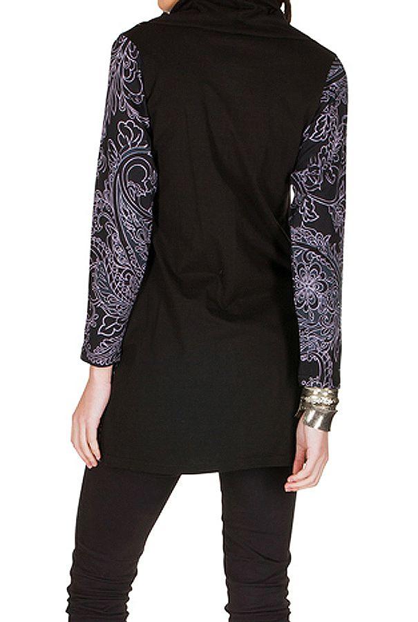Tunique femme à manches longues Noire originale et imprimée avec un large col Serena 299924