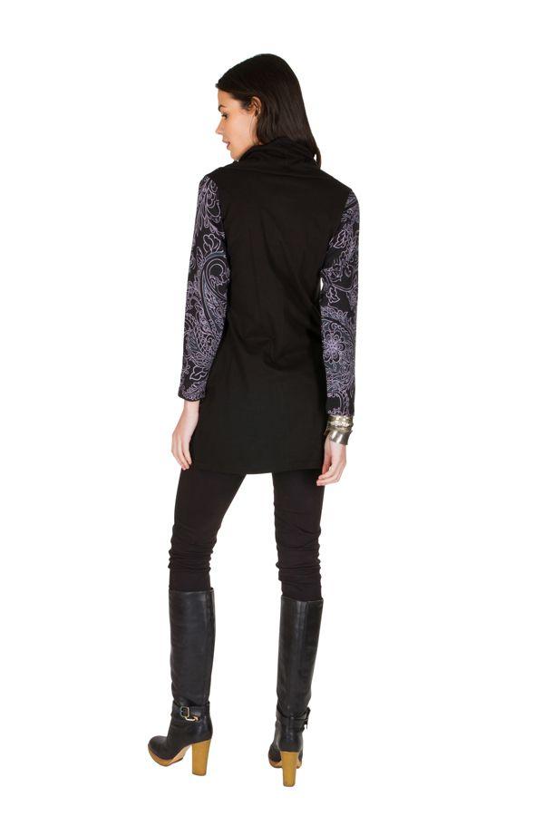 Tunique femme à manches longues Noire originale et imprimée avec un large col Serena 299925