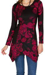 Tunique femme à manches longues Rose élégante avec motifs tendances Safia 299822