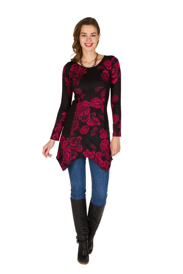 Tunique femme à manches longues Rose élégante avec motifs tendances Safia 299823