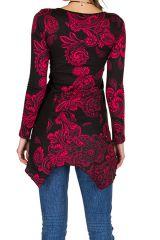 Tunique femme à manches longues Rose élégante avec motifs tendances Safia 299824