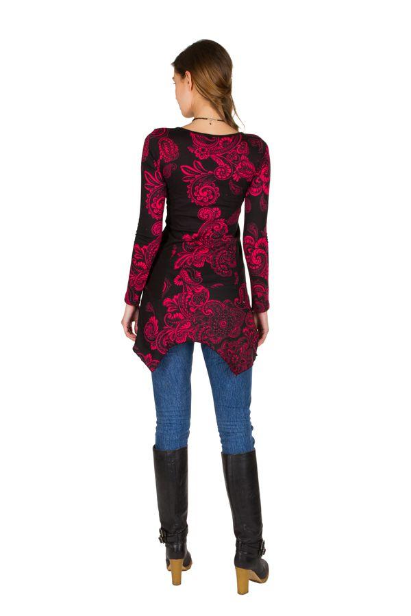 Tunique femme à manches longues Rose élégante avec motifs tendances Safia 299825