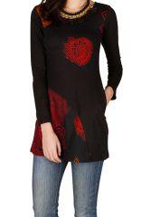 Tunique femme à manches longues Rouge imprimée et ethnique Paloma 299784