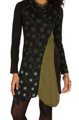 Tunique femme à manches longues Verte imprimée et originale Vanina 299607