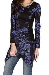 Tunique femme à manches longues Violette imprimée et féminine Raïssa 299834