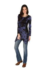 Tunique femme à manches longues Violette imprimée et féminine Raïssa 299835