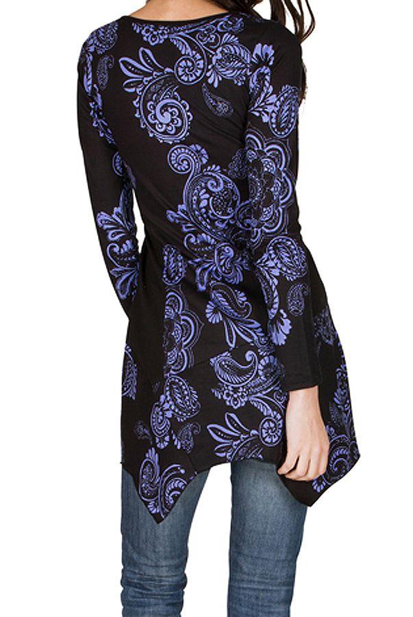 Tunique femme à manches longues Violette imprimée et féminine Raïssa 299836