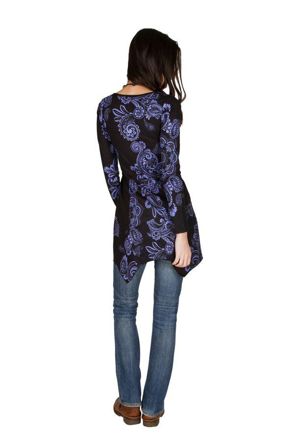 Tunique femme à manches longues Violette imprimée et féminine Raïssa 299837