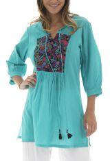 Tunique femme à tendance Baba-cool et Originale Bohémia Turquoise 295490
