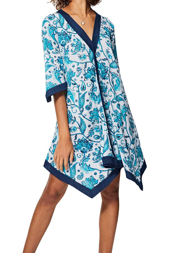 Tunique femme asymétrique à fleurs bleue et blanche originale été Lone 325457
