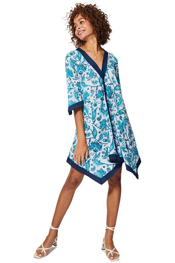 Tunique femme asymétrique à fleurs bleue et blanche originale été Lone 325458