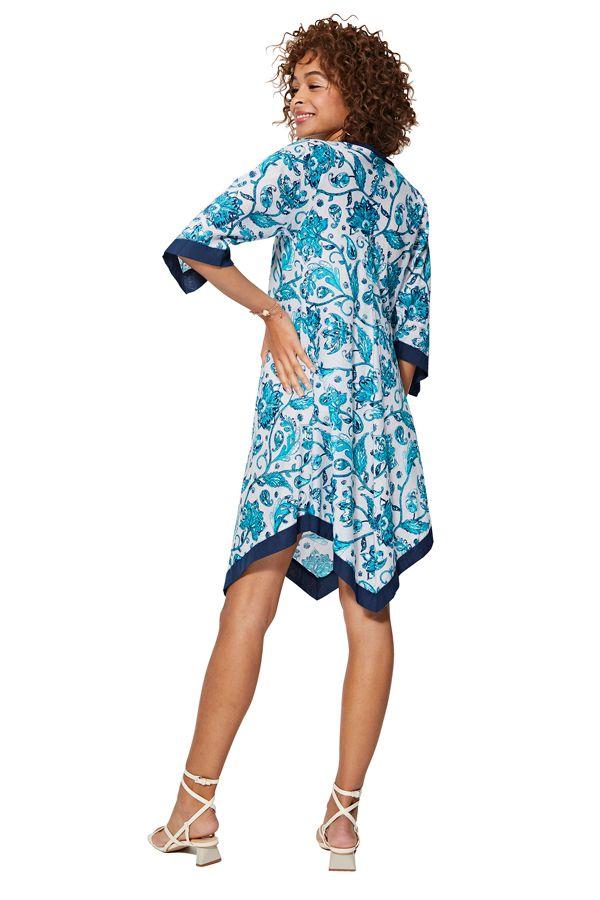 Tunique femme asymétrique à fleurs bleue et blanche originale été Lone 325459
