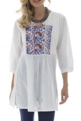 Tunique femme blanche manches 3/4 Originale et Tendance Bohémia 295493