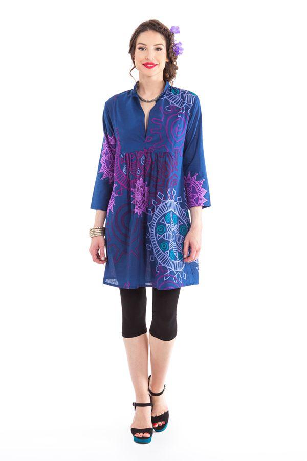 Tunique Femme Bleue d'été à manches 3/4 Colorée Bombay 281888