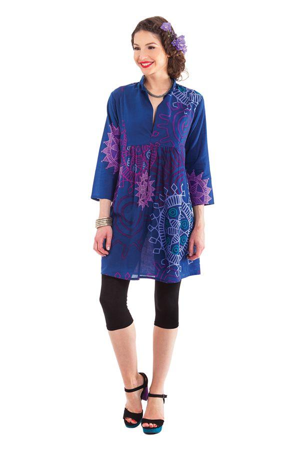 Tunique Femme Bleue d'été à manches 3/4 Colorée Bombay 281889