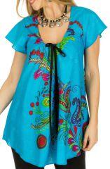 Tunique femme bleue en coton pour l' été Jennyfer 292212