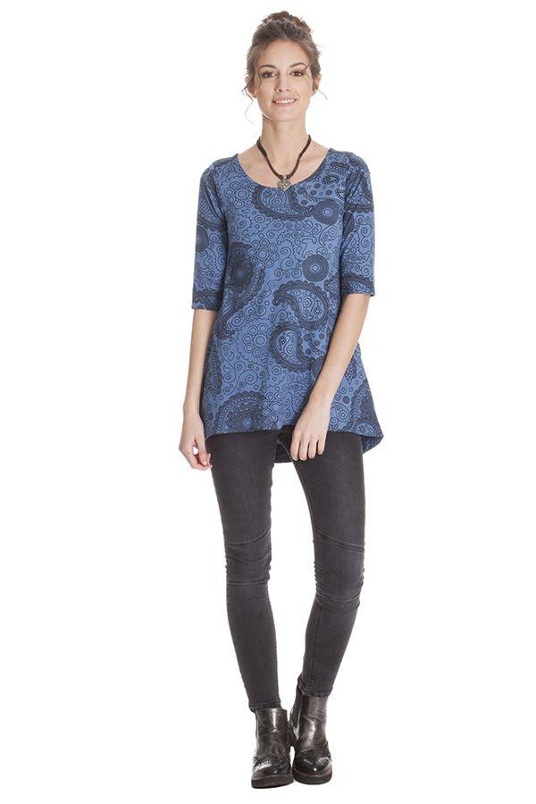 Tunique femme chic bleue avec imprimé paisley Nabor 285636