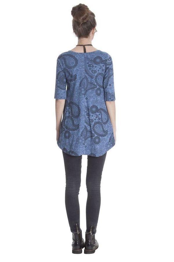 Tunique femme chic bleue avec imprimé paisley Nabor 285637