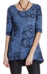 Tunique femme chic bleue avec imprimé paisley Nabor 286656