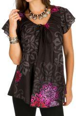 Tunique femme chic noire en coton pour l'été Miranda 292250