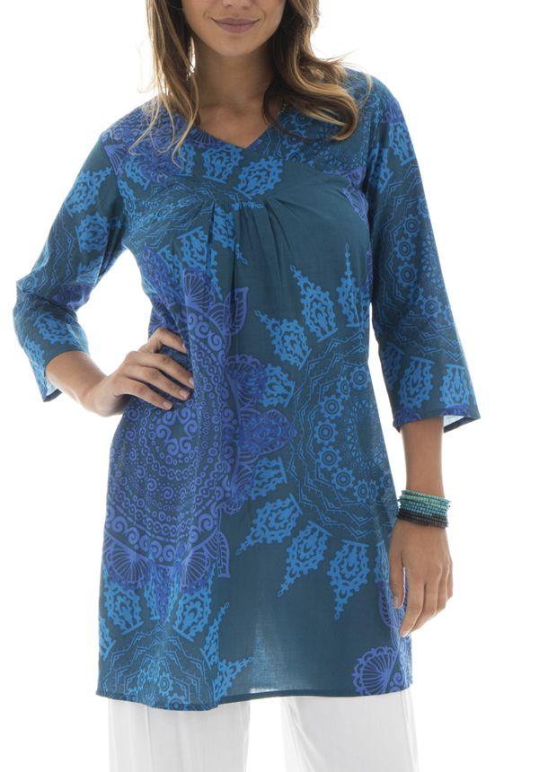 Tunique femme col cache-coeur Originale et Colorée Brazilia Bleue 292892