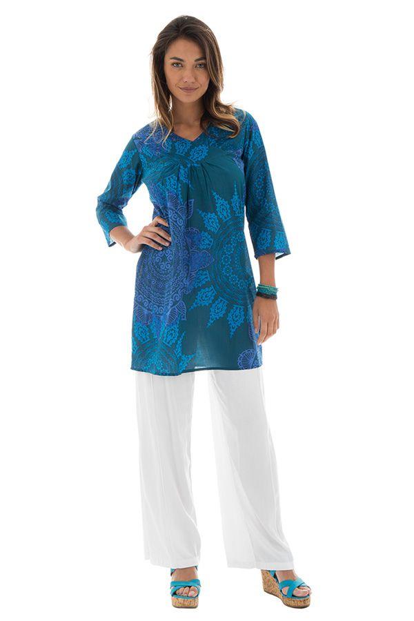 Tunique femme col cache-coeur Originale et Colorée Brazilia Bleue 292893