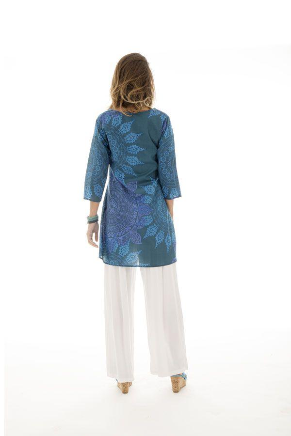 Tunique femme col cache-coeur Originale et Colorée Brazilia Bleue 292894