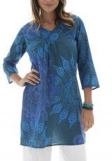 Tunique femme col cache-coeur Originale et Colorée Brazilia Bleue 312455