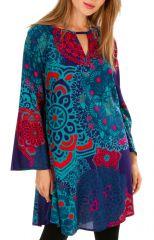 Tunique femme colorée à manches longues et col tunisien Angeline