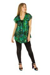 Tunique femme de couleur verte en coton pour l' été Elina 289637
