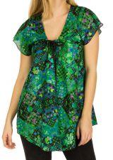 Tunique femme de couleur verte en coton pour l' été Elina 292163