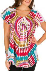 Tunique femme élégante blanche en coton pour l'été Miranda 292261