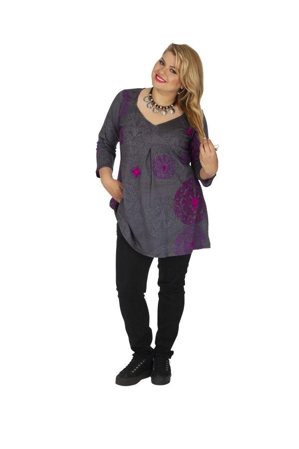 Tunique femme en grande taille ethnique Karuzi grise 313741